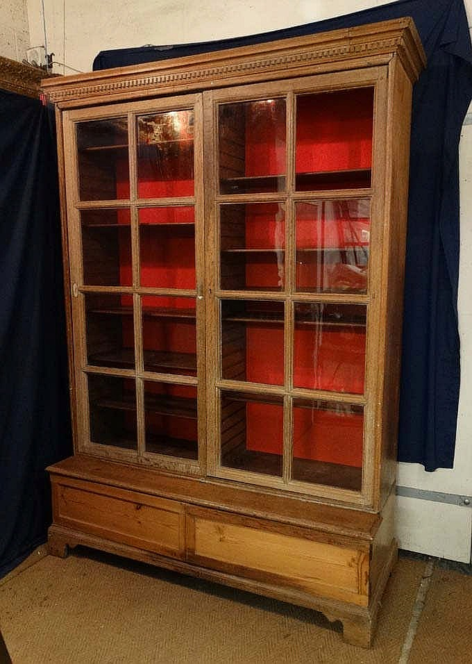 A Georgian Oak Glaze Front Display Case With 2 Door Cupboard