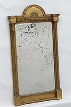 A late 19thC gilt wall mirror with gilt frame, gathered columns to sides et
