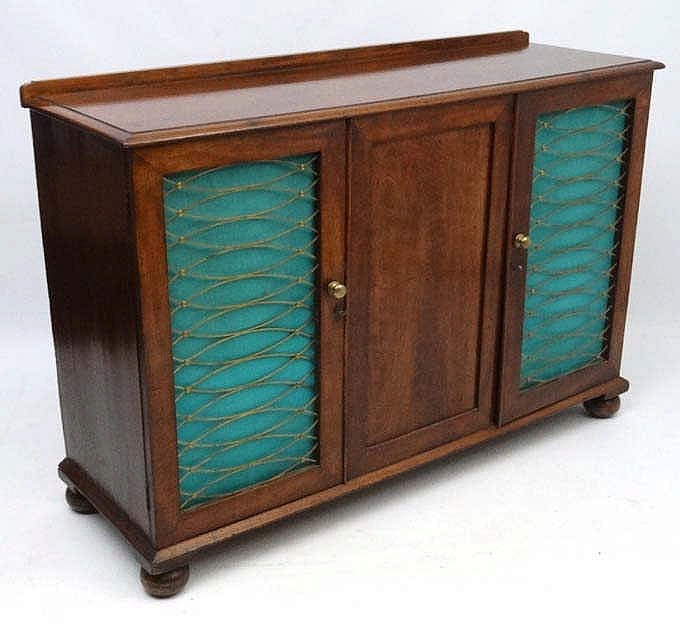 an early 19thc mahogany side cabinet 2 brass grills