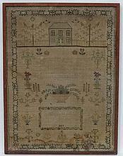 Sampler :  ' Winifred May Gibbine , Beddington , October 4 th 1827 '  A sil