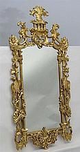Chinese Chippendale Style Mirror  : a 20 thC gilded , carved wooden wall mi
