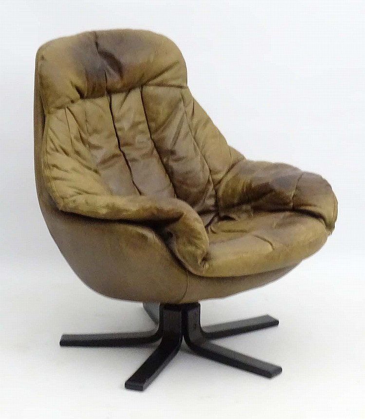 Terrific Vintage Retro A Danish Swivel Leather Bucket Chair As Gmtry Best Dining Table And Chair Ideas Images Gmtryco