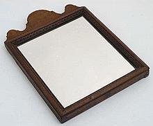 An 18thC walnut wall mirror 11 3/4'' high x 8 5/8'' wide