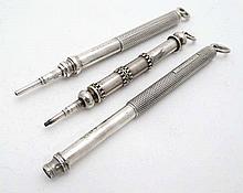 Sampson Mordan & Co : 3 various pencils by S Mordan & Co