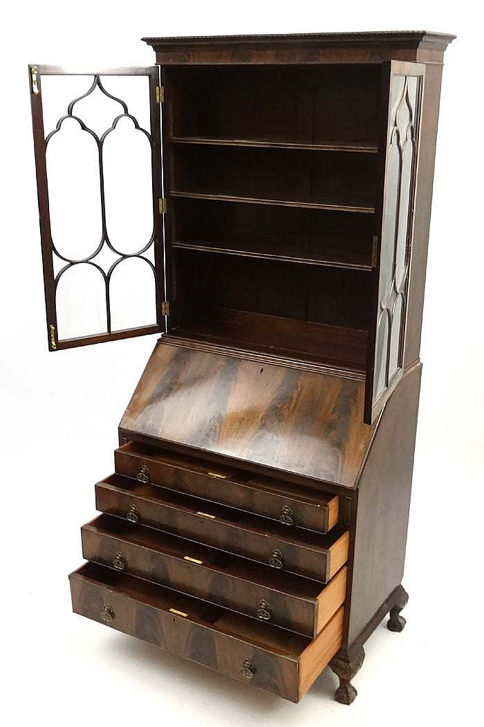 an early 20thc walnut bureau bookcase 36 39 39 wide x 80 39 39 high. Black Bedroom Furniture Sets. Home Design Ideas