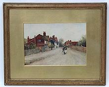 A Rivers XIX, Watercolour, Village street with woman walking, Signed lower