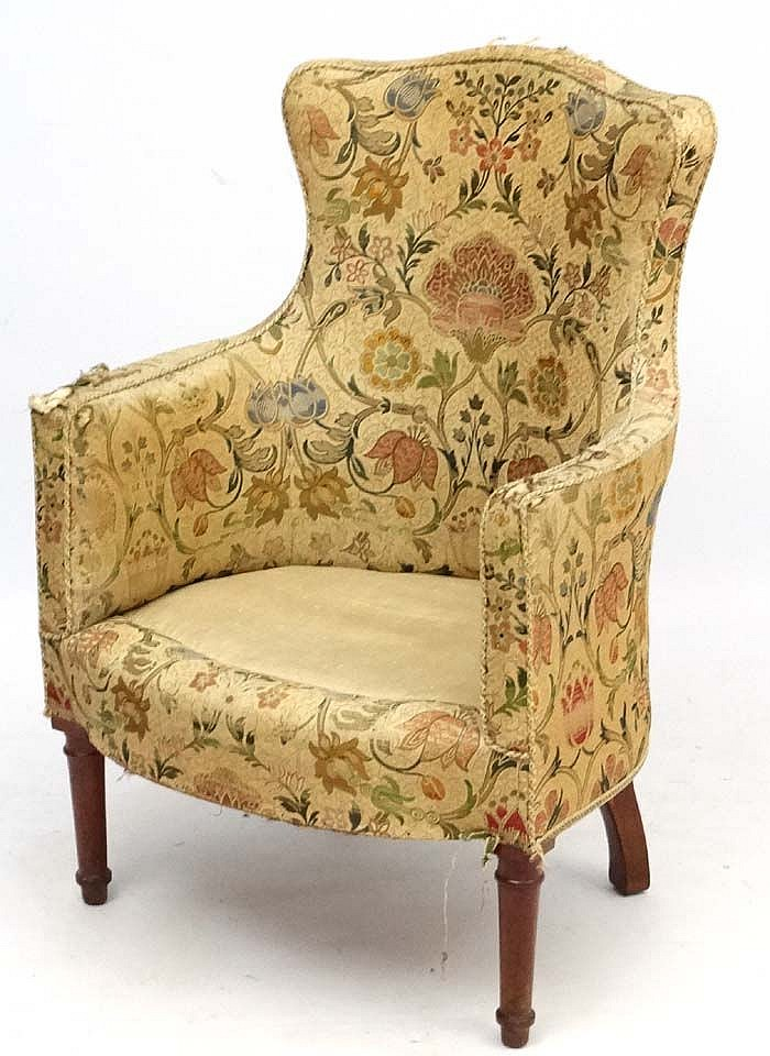 A Late Victorian Shaped Back Armchair With Walnut Show Wood