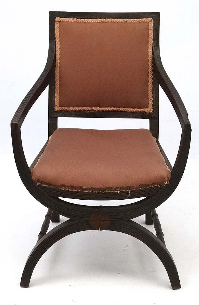A x frame oak chair with open arms 34 39 39 high for Furniture 4 a lot less