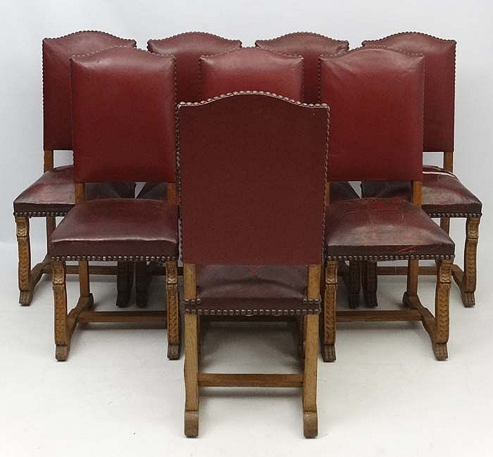 Burgundy Dining Room: A Set Of 8 Burgundy Leather Bow Back Oak Dining Chairs With