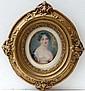 XIX Miniature on Ivory An Oval Portrait of a dark
