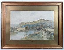 O H Thomas 1915 Welsh School Watercolour The Pool,