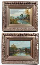 J Lewis XIX Pair of oil on Canvas Views on the