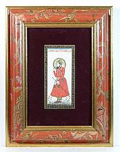 Indian Mughal c. 1900 School Gouache on ivory