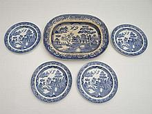 Items of blue and white transfer printed pottery