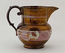 A 19th Century copper lustred jug having wide pink