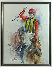 Roger Simpson XX ( horse racing ) Watercolour The