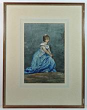 Coelmann ( XIX) Watercolour Portrait of a seated