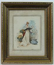 W. M. monogrammed Watercolour ' Lady with Fan in