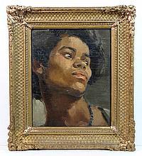 XIX-XX Continental School Oil on board Portrait of