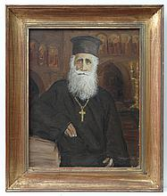 XX Greek School Oil on panel A Greek holy Cleric /