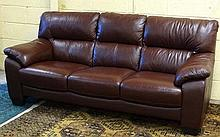 Vintage Retro : a 21 st C Brown leather 3 seat sof