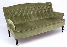 A late Victorian button back green draylon upholst