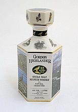 Whisky Decanter : ' Gordon Highlander  ' a hexagon