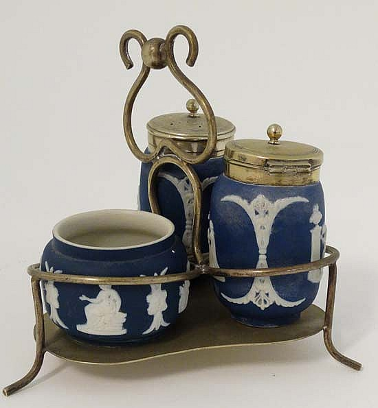 A 19thc adams tunstall england blue jasperware cruet set on for S furniture tunstall