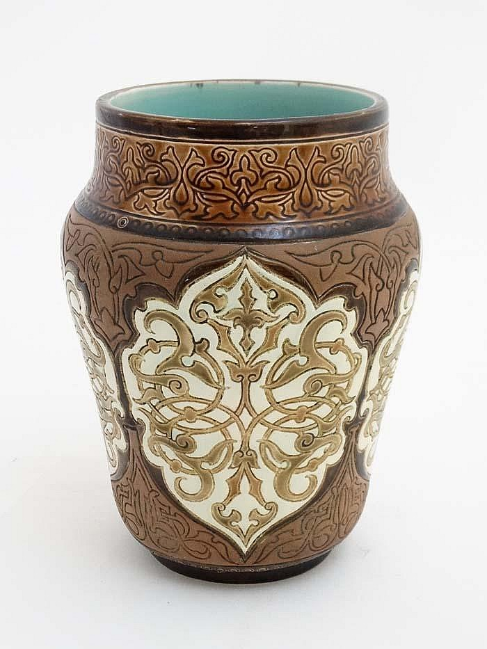 Arts and crafts a ceramic vase in the style of minton in t for Arts and crafts vases pottery