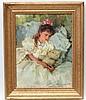 Konstantin Razumov (b.1974), Russian School,  Oil on canvas, Young girl with her Teddy bear, Signed lower right.  Approx 13'' x 10'', Konstantin Razumov, £1,200