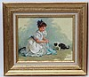 Konstantin Razumov (b.1974), Russian School,  Oil on canvas, Young girl with turquoise ribbon playing with a kitten,  Signed lower right. Approx 8'' x 10'', Konstantin Razumov, £1,200