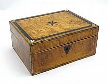 A late 19thC / early 20thC birds eye maple and burr wood  box with inlaid geometric banding, and ebony decoration set with mother of pearl roundels. 8 3/4'' x  wide x 4'' high x 6 1/2'' deep