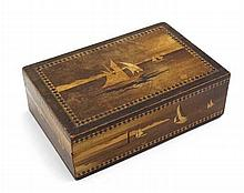 An Arts and crafts marquetry inlaid puzzle box with sailing boat decoration 5 3/4'' x 3 3/4'' x 2''