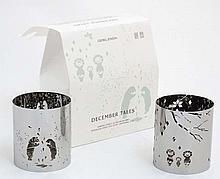 Georg Jensen : December Tales - 2 Stainless Steel Tea light Lanterns (Eskimo Family & Polar Bears ) approx 3 1/4'' high