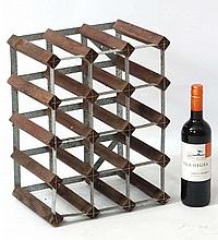 Wine rack : A 16 bottle wine rack of wood and metal construction 12 1/2'' high x 16 1/2'' wide