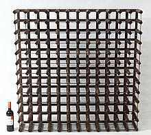 Wine rack : A 156 bottle wine rack of wood and metal construction. approx 47 1/2'' high x 47'' high