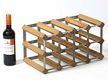 Wine rack : A 12 bottle wine rack of wood and metal construction 9'' high x 16 1/2'' high