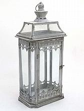 A white painted lantern with canted corners. 21stC. approx.  24'' high