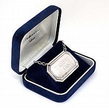 A silver  ' Damson Gin '  wine label / bottle ticket . Hallmarked Birmingham 1994 maker B & Co