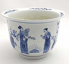 A large Chinese blue and white jardiniere the two panels decorated with figures in garden scenes and flowers. 7 1/4'' high.