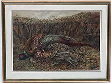 FE Ganlloud, early-mid 20thC,  Continental, Watercolour, The end of the drive, a brace of pheasants, Signed lower left. 19 1/3 x 28 1/3''
