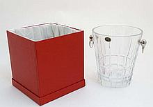A Lead crystal ice bucket with silver plate ring handles. By Cristalleries de Lorraine 9 1/4'' high