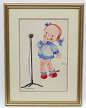 Phyllis Cooper (1895-?), Gouache, Puzzlement , a young girl by a microphone, Signed mid right, Aperture 11 1/2 x 8 1/4''