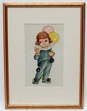 Manner of Mabel Lucie Attwell  ( 1879-1964), Pencil , watercolour and Gouache, Balloon Girl, Aperture 10 3/4 x 6 1/2''