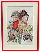 Helen B Gay c. 1900, Pencil , watercolour and gouache, Mistletoe , young boy & girl sitting on a branch, Signed lower right. 16 3/4 x 11''