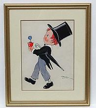 Phyllis Cooper (1895-?), Gouache, Loving Thoughts , a young boy in a top hat carrying a potted pansy ,  Signed lower right, Aperture 11 x 8 3/8''