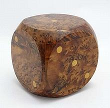 A burr walnut cube formed box modelled as a dice. Approx 4'' sq.