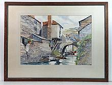 Van Gill XX Watercolour Polperro , Cornwall Signed