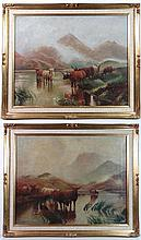 T Keck English School Oil on canvas , a pair