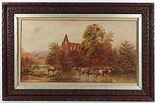 'S R' XIX English School Watercolour Cattle